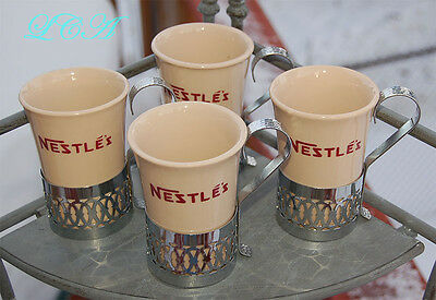 Set of 4 - old NESTLE'S mugs crockery pottery stoneware w/silver chrome handles