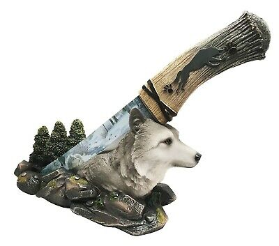 Gray Wolf Figurine with Dagger Knife Letter Opener Decor Wild Life Collectible