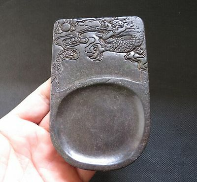 Chinese antiques Old Jade hand-carved dragon Ink stone Y2151