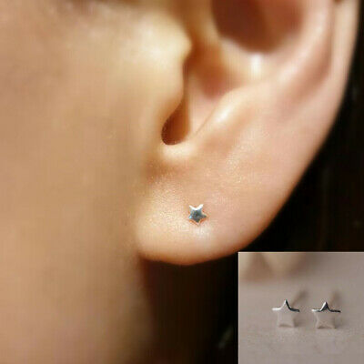Rhodium Plated Solid 925 Sterling Silver Spike/Rivet/Cone Stud Earrings Gift