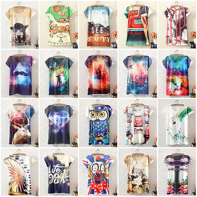 Casual Summer Ladies Womens Short Sleeve Graphic Printed T Shirt Tee Blouse Tops
