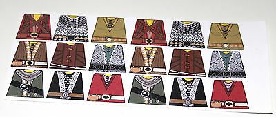 18 custom stickers CASLE KINGDOMS DWARF LORD OF THE RINGS - lego torso size