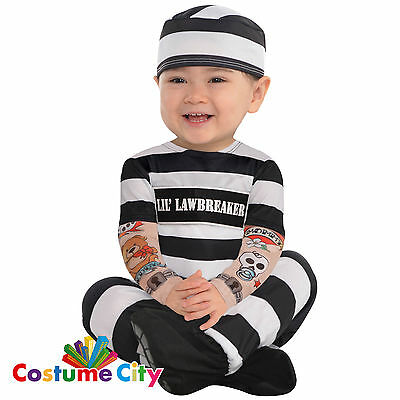 Babys Toddlers Little Law Breaker Prisoner Convict Fancy Dress Party Costume