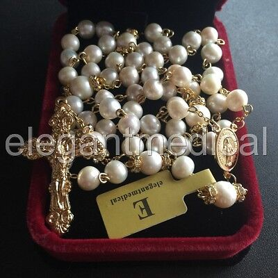Catholic Glod 8Mm Real Pearl Beads Necklace Rose Rosary & Cross / Crucifix & Box