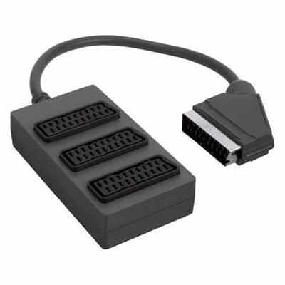 3 Way Scart Splitter Extension Cable Lead Box for TV DVD VHS Xbox (Black)