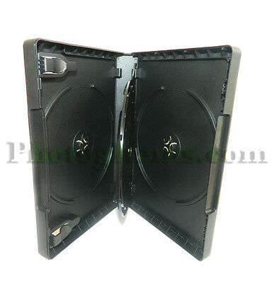 DVD CD Case Holds 3 DVDs or CDs Black Plastic with Clear Outside Sleeve 3004