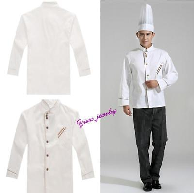 Pop Unisex Long Sleeve Uniform Button Front Chef Top Jacket Coat Work Clothing