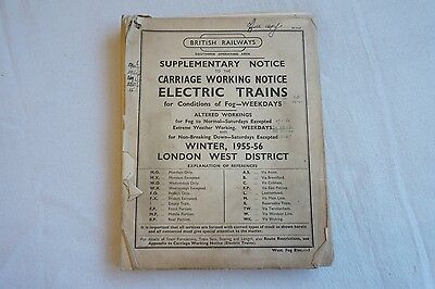 1955 1956 Carriage Working Notice Electric Trains London West District Southern
