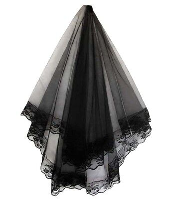 Black Bridal Wedding Veil With Lace Edges Combless Brand New