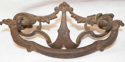 Victorian Scrolls Cast Iron Drawer Pull Filagree Openwork Antique Bureau