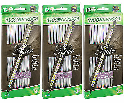 Dixon Ticonderoga Noir Holographic Woodcase Pencils, #2, HB, 36/Pack (13970)