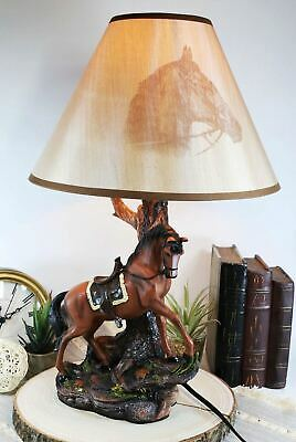 Western Brown Horse with Saddle Figural Table Night Lamp with Shade Home Decor