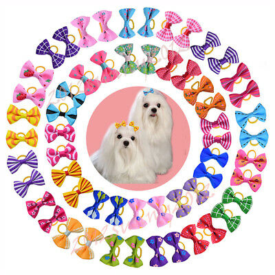 20 styles pet dog hair bows rubber bands pet grooming hair bows dog accessories
