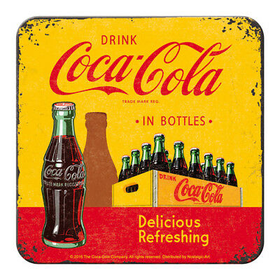 METALL UNTERSETZER 46140 - COCA-COLA IN BOTTLE (YELLOW) - 9x9 cm - NEU