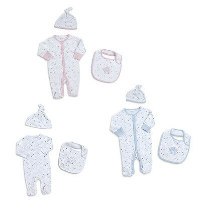 Baby 3 Piece Sleepsuit Bib and Hat set Newborn to 9-12 months Boy Girl Unisex