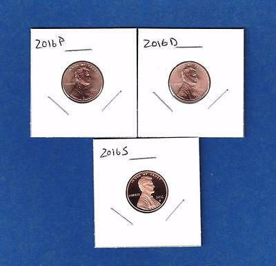 2016 P D and S Lincoln Cent Penny Set-P and D BU from rolls-IN STOCK