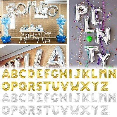 """Gold/Silver Foil 16/40"""" Letter Number Balloons Birthday Wedding Party Decoration"""
