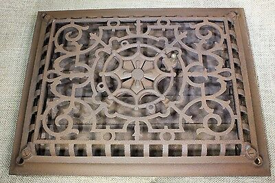 "Heat Air raised front Grate vent register old 13 3/4 x 10 3/4"" pinwheel twist • CAD $188.76"