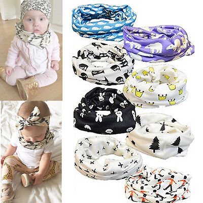 Kids Baby Toddler Boys Girls Cotton Snood Scarf Ring Scarves Shawl Neckerchief