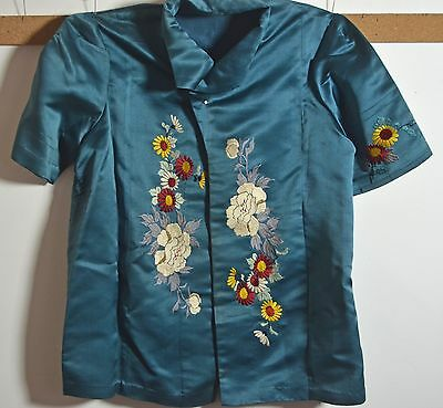 Lovely Vintage Japanese Embroidered Silk Ladies Jacket Rr725