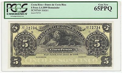 1899 Costa Rica 5 Pesos Lion Bank Note Bill Pick# S163r1 - PCGS GEM NEW 65 PPQ