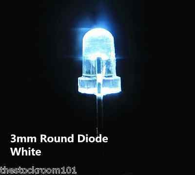 10x WHITE 3MM Ultra Bright Water Clear  LED Bulb 3V Light Emitting Diode