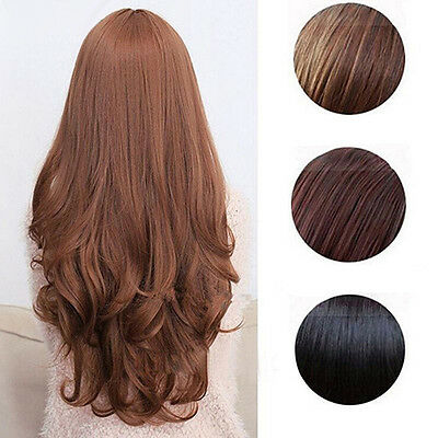 Women Amazing Long Curly Wavy Full Wig Heat Resistant Hair Cosplay Party Lolita
