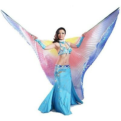 New Egyptian Professional Belly Dance Clothing Isis Wings+Bag+Sticks 13 colors