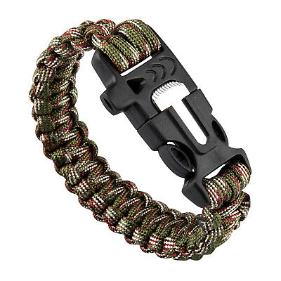 TRIXES Paracord Survival Bracelet with Fire Starter and Whistle Camouflage