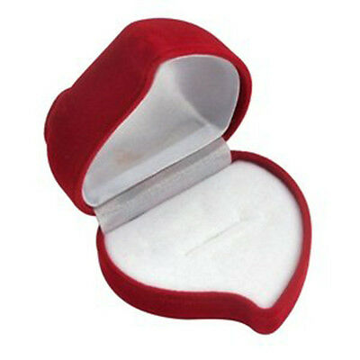 Luxury Red Love Heart Flocked Ring Box Engagement Wedding Proposal - By TRIXES