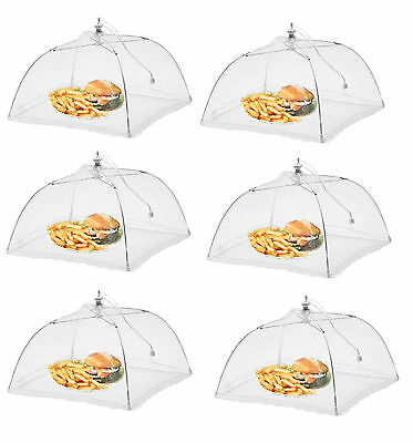 "Lot Of 6 Mesh Food Umbrella Covers Picnic BBQ Party Folding Tent White 17"" NEW"