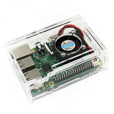 TRIXES Clear Acrylic Case with Cooling Fan for Raspberry Pi Model B and B+