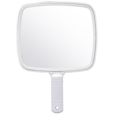 TRIXES Large White Handheld Hairdresser Mirror Practical Salon Barber Accessory