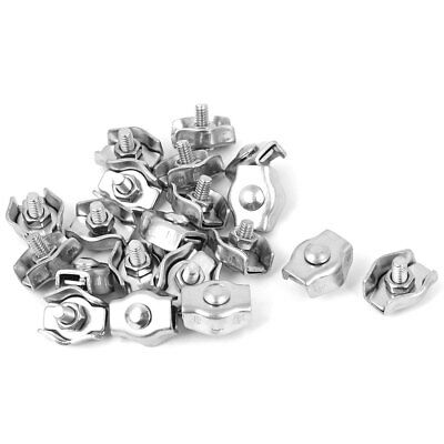 3mm Stainless Steel Simplex Wire Rope Clip Cable Clamps 20 Pcs