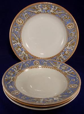 4 x Minton Florentine Pattern Soup Dishes Victorian Date Mark for 1862