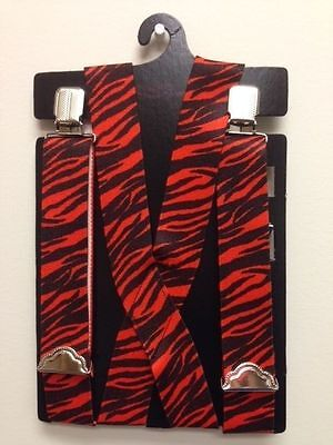 Suspenders Braces 1 1/2 Wide Zebra Polyester Elastic Thick New USA