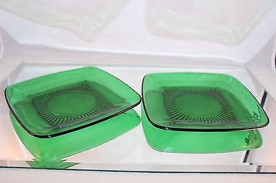 Pair Of Vintage Forest Green Anchor Hocking Charm Square Dessert Plates