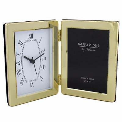 "Brass Plated Clock and 4"" x 6"" Photo Frame Gift New Boxed 3502B"