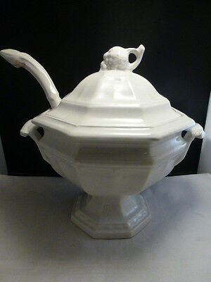 Large White Vintage Red Cliff Ironstone Soup Tureen w/ Ladle - Post 1940