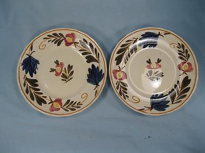 2 Red Yellow Flowers Bread Butter Plates Societe Ceramique Maestricht (O) AS IS