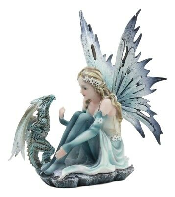 "Winter Glacier Fairy With Bossy Baby Dragon Statue 7.25""Tall Mythical Fae Magic"