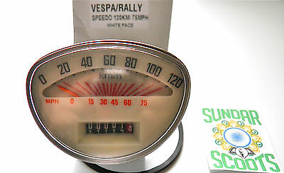 SPEEDO,WHITE FACE.12O kph : 75mph.STAIN' STEEL RIM. GOOD FOR VESPA RALLY SCOOTS