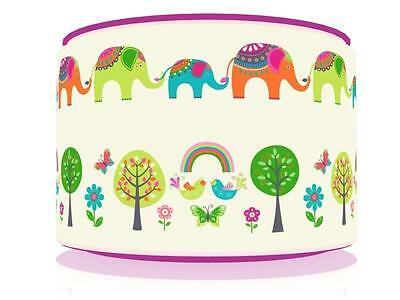"Elephants And Trees Ceiling Lamp Shade 11"" Nursery  Free  P & P"