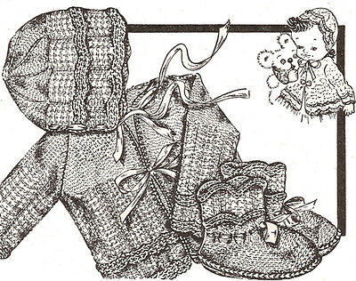 Vintage Knitting PATTERN to make Baby Bonnet Hat Sweater Booties Set KnitScallop