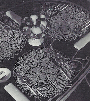 Vintage Crochet Pattern to make Pineapple Design Doily Centerpiece or Place Mats