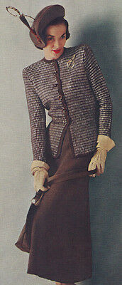 Vintage Knitting PATTERN to make Designer Two Piece Checked Suit Dress 40s Check