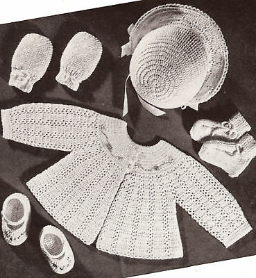 Vintage Crochet PATTERN to make Baby Set Bonnet Sacque Jacket Sweater Shoes Hoye