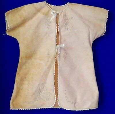 Vintage 50's Infant, Baby or Doll flannel robe; pale pink w/ embroidery & lace