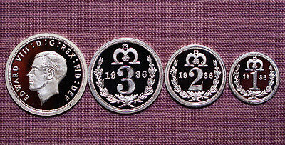 1936 KING EDWARD VIII PATTERN SET MAUNDY COINS IN SILVER - 4d To 1d