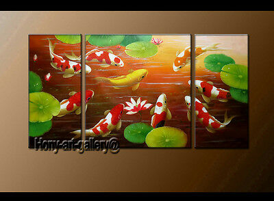 HUGE MODERN ABSTRACT OIL PAINTING Feng Shui Fish Koi Canvas wall Art Framed fs10